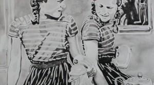 Twins, 2013, Acrylic on handmade paper, 106 x 78