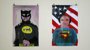 Fabio Moro, o.T. (Batman), 2011, Enamel on PVC, 118 x 74,5 cm Fabio Moro, o.T. (Superman), 2011, Enamel on PVC, 118 x 74,5 cm