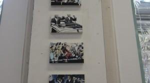 Aaron Vidal, Triumph der Technik, acrylic on canvas, each 14 x 22 cm