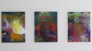 Rauch und Traum, 2014,oil mix technique on canvas, 60 x 45 cm; Aus dem Nichts heraus kam der unbändige Schmerz, 2014, oil mix technique on canvas, 60 x 45 cm; Ohne Zauber Ohne Gold, 2014, oil mix technique on canvas, 60 x 45 cm