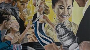 Sparkplugged, 2012, Acryl auf Leinwand, 100 x 100