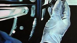 Blaubehandschuete Hand, 2011, Acryl auf Leinwand, 55 x 55 cm