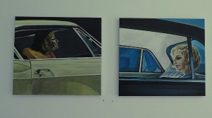 Aaron Vidal, Die teuerste Frau der Welt, 2011, Acryl auf Leinwand, 45 x 50 cm; Aaron Vidal. Das ist eine schöne Überraschung, 2011, Acryl auf Leinwand, 45 x 50 cm