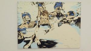 Holger Zimmermann, Badespaß, 2010, Acryl auf Bütten, 106 x 78 cm