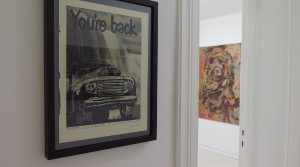 Holger Zimmermann, You´re Back, 2014, Acryl auf Papier, 35,3 x 26,5 cm Holger Zimmermann, P.U.C. XXXV, 2014, Pigmentdruck auf Leinwand, 150 x 100 cm