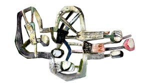 The new Religion, 2013, Bemaltes Holz, 80 x 130 cm