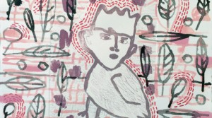 o.T., 2014, Acryl und Radierung auf Papier, 29 x 37