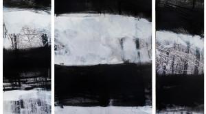 Reh verloren I, Triptychon, 2015, Mischtechnik (Foto, übermalt, Collage) auf Leinwand, 150x200