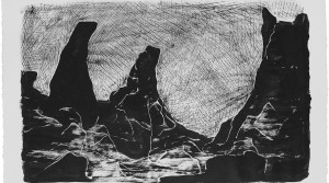 Snjobarið Hraun, 2013, Tusche auf Arches Bütten, 20 x 120 cm